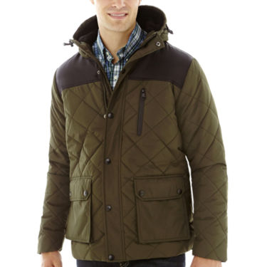 IZOD® Puffer with Oxford Yoke Coat - JCPenney