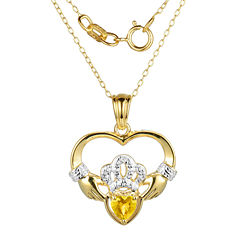 Heart-Shaped Genuine Citrine and Diamond-Accent Claddagh Pendant Necklace