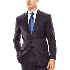 Stafford® Executive 100s Wool Navy Stripe Suit Jacket - Classic Fit