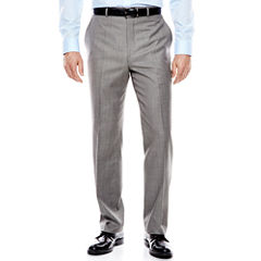 Stafford® Travel Gray Sharkskin Flat-Front Suit Pants - Classic Fit