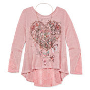 Arizona Long-Sleeve Graphic Necklace Top - Girls 7-16 and Plus
