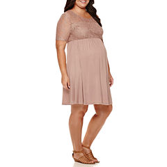 Maternity Elbow-Sleeve Lace-Top Knit Dress - Plus