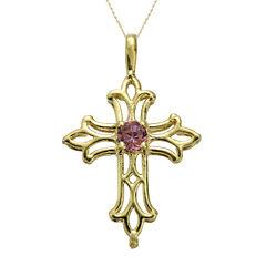Genuine Rhodolite 10K Yellow Gold Cross Pendant Necklace