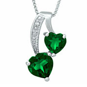 Lab-Created Emerald and Diamond-Accent Sterling Silver Double-Heart Pendant Necklace