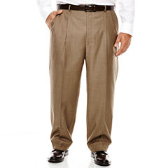 Stafford® Travel Brown Sharkskin Pleated Suit Pants - Portly Fit