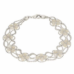 Cultured Freshwater Pearl Sterling Silver Lace Bracelet