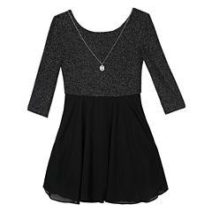 by&by girl 3/4 Sleeve Skater Dress - Big Kid Girls