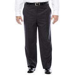 Stafford® Charcoal Chalk Stripe Flat-Front Suit Pants - Big & Tall