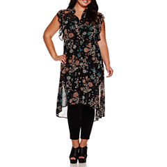 Boutique+ Short Ruffle Sleeve Button-Down Tunic or Essential Leggings - Plus