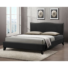 Baxton Studio Battersby Modern Bed with Upholstered Headboard
