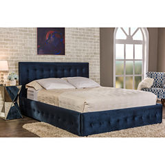 Baxton Studio Morgan Contemporary Velvet Upholstered Button-Tufted Platform Bed