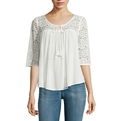 Arizona 3/4-Sleeve Crochet Swing Top - Juniors