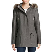 a.n.a® Faux-Fur Trim Casual Zip Wool-Blend Coat - Tall