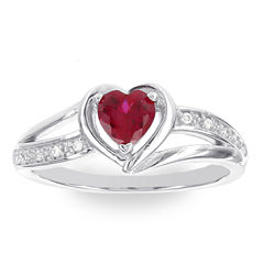 Womens Diamond Accent Red Lab-Created Ruby Sterling Silver Cocktail Ring