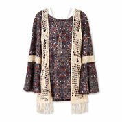 Speechless® Long-Sleeve Peasant Top and Vest withNecklace - Girls 7-16