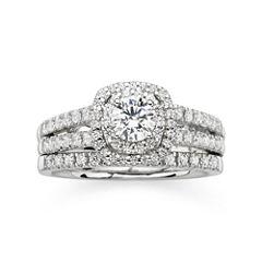 Modern Bride® Signature 1 CT. T.W. Diamond 14K White Gold Bridal Ring Set