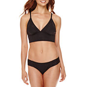 a.n.a® Solid Long-Line Halter Swim Top or Side-Shirred Hipster Swim Bottoms