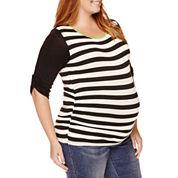 Planet Motherhood Maternity Striped Knit Top - Plus
