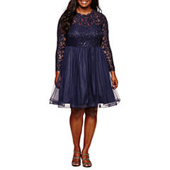 My Michelle Long Sleeve Navy LaceParty Dress-Juniors Plus