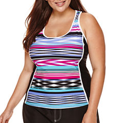 ZeroXposur® Echo Sport Striped Tankini Swimsuit Top - Plus