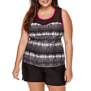 Zero Xposur® Knit Mesh Tankini or Action Shorts - Plus