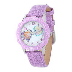 Disney Frozen Anna and Elsa Kids Crystal-Accent Purple Leather Glitter Strap Watch