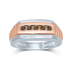 Mens 1/2 CT. T.W. Champagne Diamond 10K Two-Tone Gold Ring