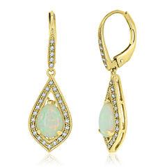 Multi Color Opal 14K Gold Over Silver Drop Earrings