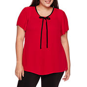 Worthington® Short-Sleeve Tie-Neck Blouse with Pleated Sleeve - Plus