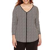 Liz Claiborne® 3/4-Sleeve V-Neck Top - Plus