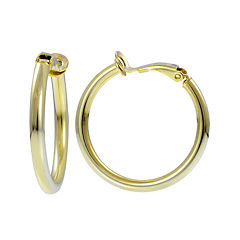 14K Yellow Gold Over Sterling Silver 25mm Hoop Clip-On Earrings