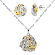 Crystal-Accent Tri-Tone Knot Earring and Necklace Set