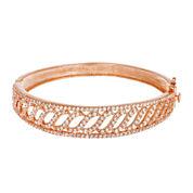 18K Rose Gold Over Brass Cubic Zirconia Wave Bangle Bracelet