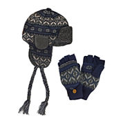 MUK LUKS® 2-pc. Fair Isle Trapper Hat and Flip Gloves Set