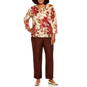 Alfred Dunner® Villa d'Este Floral Shimmer Sweater or Pull-On Pants - Plus