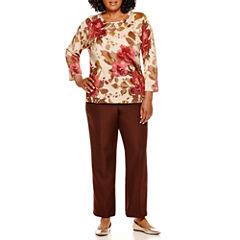 Alfred Dunner® Villa d'Este Floral Shimmer Sweater or Pull-On Pants - Plus