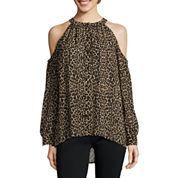nicole by Nicole Miller® Long-Sleeve Cold-Shoulder Button-Front Top