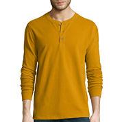 St. John's Bay® Long-Sleeve Sueded Jersey Henley Shirt