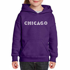 Los Angeles Pop Art Chicago Neighborhoods Long Sleeve Sweatshirt Girls