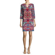 nicole by Nicole Miller® 3/4-Sleeve Printed Shift Dress