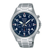 Pulsar® Mens Stainless Steel Solar Chronograph Sport Watch PX5037