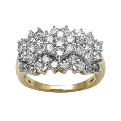 2 CT. T.W. Diamond 10K Yellow Gold Cocktail Cluster Ring