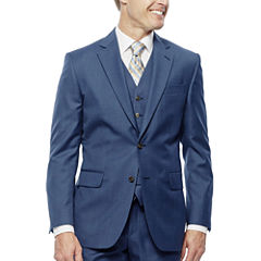 Stafford Travel Wool Blend Stretch Mid Blue Slim Fit Suit Jacket