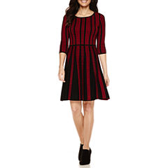 Danny & Nicole® 3/4-Sleeve Dot Fit-and-Flare Sweater Dress - Petite