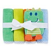 Okie Dokie Boy 4Pk  Wash Cloth Set Green Dino