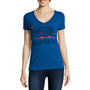 Short Sleeve V Neck T-Shirt-Juniors