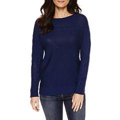 St. John's Bay® Long-Sleeve Cable-Yoke Sweater
