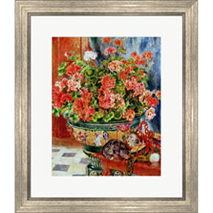 Geraniums And Cats 1881 Framed Print Wall Art