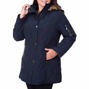 Fleet Street Faux-Silk Stadium Parka with Faux-Fur Trim Hood - Plus