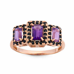 Purple Amethyst Gold Over Silver 3-Stone Ring